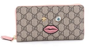 Gucci Pre-owned: Zip Around Wallet Gg Coated Canvas With Face Applique. - BROWN - STYLE