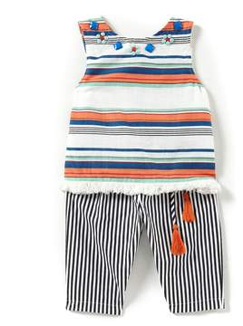 Rare Editions Baby Girls 12-24 Months Horizontal-Stripe Top & Vertical-Stripe Pant Set