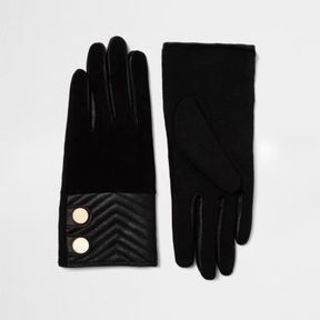 River Island Womens Black quilted suede gloves