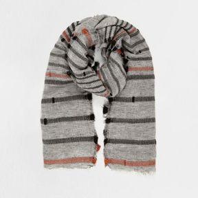 River Island Womens Grey textured stripe scarf
