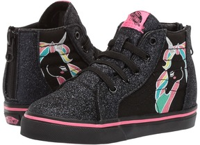 Vans Kids Sk8-Hi Zip Rainbow/Black Glitter) Girls Shoes
