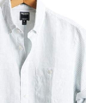 Todd Snyder Slim Fit Linen Wide Stripe Button Down Shirt in White