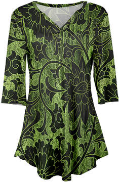 Azalea Green & Black Floral V-Neck Tunic - Women