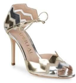 Aperlaï Two-Tone Metallic Zigzag Heels