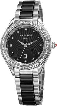 Akribos XXIV Black Dial Ladies Two Tone Crystal Watch