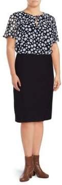 Basler Marine Polka-Dot Blouson Dress