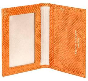 Aspinal of London | Id Travel Card Case In Orange Lizard Cream Suede | Orange lizard cream suede
