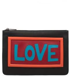 Fendi Men's Black Leather Clutch.