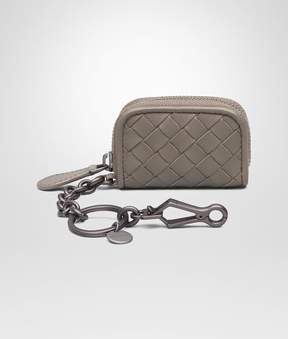 Bottega Veneta Key Ring In Steel Intrecciato Nappa Leather