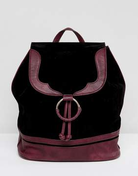 Glamorous Faux Suede Backpack With Burgundy Trim
