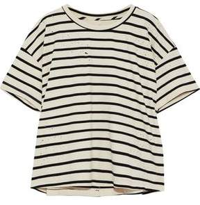 Current/Elliott The Roadie Distressed Striped Cotton-Blend Jersey T-Shirt