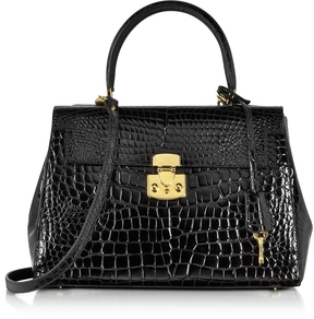Fontanelli Shiny Black croco-style Leather Handbag