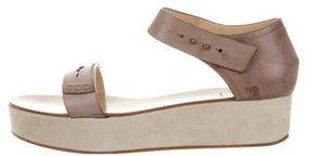 Brunello Cucinelli Leather Wedge Sandals
