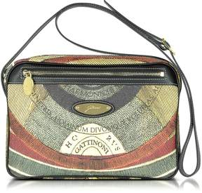 Gattinoni Planetarium Coated Canvas and Leather Shoulder Bag