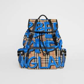 Burberry The Large Rucksack in Graffiti Print Vintage Check