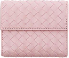 Bottega Veneta Pink Intrecciato Compact Fold Over Wallet