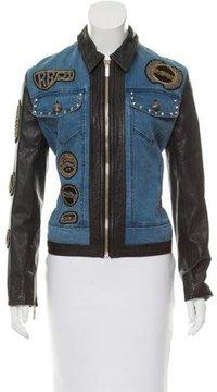 Roccobarocco Leather-Trimmed Denim Jacket