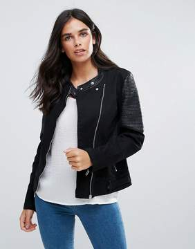 Blend She Fabia Collarless Biker Jacket