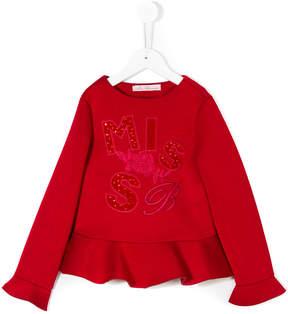 Miss Blumarine embroidered ruffled sweatshirt