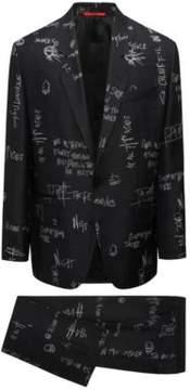 HUGO Boss Scribble-Print Wool Suit, Oversized Fit Ursus/Faris 36R Black