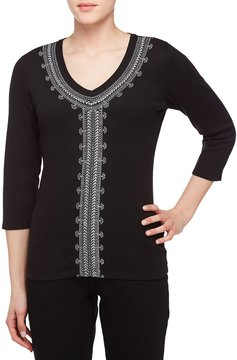 Allison Daley Embroidered V-Neck 3/4 Sleeve Solid Knit Top