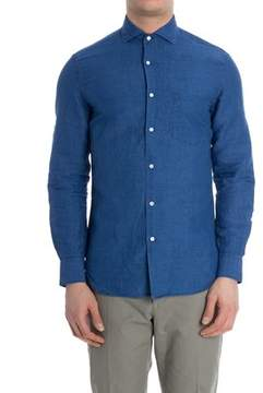 Aspesi Men's Blue Linen Shirt.