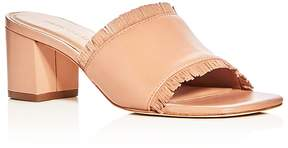 Bernardo Women's Blossom Leather Block Heel Slide Sandals