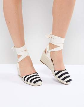 Stripe Espadrille Wedge Heel Sandals
