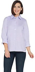 Bob Mackie Bob Mackie's Embroidered Woven Poplin Shirt w/Cuff Sleeves