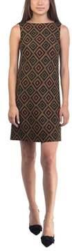 Prada Women's Virgin Wool Geometric Print Dress Orange.