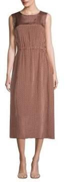 Peserico Sleeveless Leaf-Print Dress