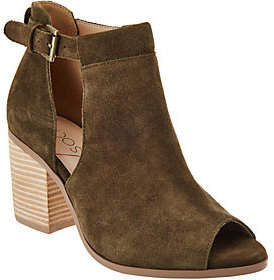 Sole Society As Is Suede Peep-Toe Ankle Boots - Ferris