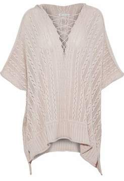 Autumn Cashmere Pointelle-Knit Cotton Hooded Poncho