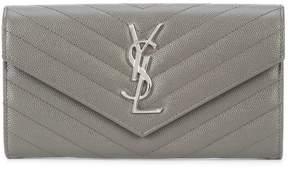 Saint Laurent Monogram zip around wallet - GREY - STYLE