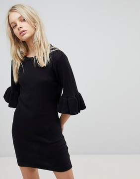 Brave Soul Orchid Sweater Dress with Frill Sleeves