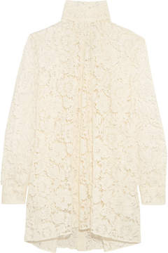 Valentino Pussy-bow Cotton-blend Lace Blouse - Ivory