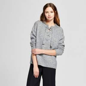 Cliche Women's Lace-up Pullover Sweater Gray