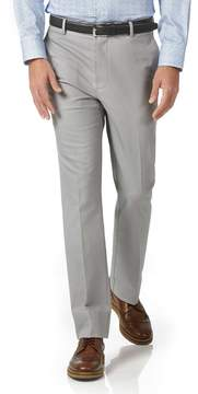 Charles Tyrwhitt Silver Slim Fit Stretch Non-Iron Cotton Tailored Pants Size W32 L30