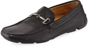 Giorgio Armani Lizard-Embossed Leather Driving Loafer