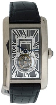 Cartier Tank Americaine 18K White Gold & Leather 36mm x 52mm Watch