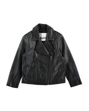 Molo Hazel Leather Moto Jacket, Black, Size 4-14