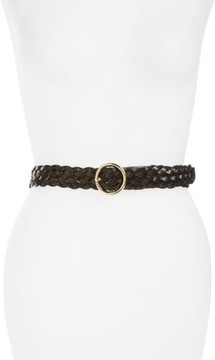 Halogen Women's Round Buckle Braided Leather Belt