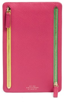 Smythson 'Panama' Zip Currency Case - Pink
