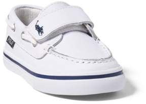 Ralph Lauren Batten Leather Ez Boat Shoe White/Navy 4.5
