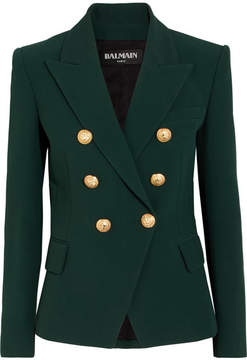 Balmain Double-breasted Crepe Blazer - Green