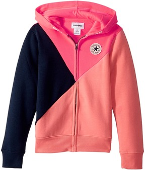 Converse Color Blocked Front Zip Girl's Long Sleeve Pullover