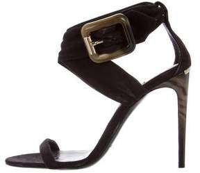 Burberry Nubuck Ankle Strap Sandals
