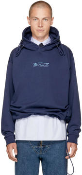 Martine Rose Navy Classic Triple Drawstring Logo Hoodie