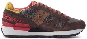 Sneaker Saucony Shadow Limited Edition In Brown Suede And Mesh Fabric With Cow Hair Parts