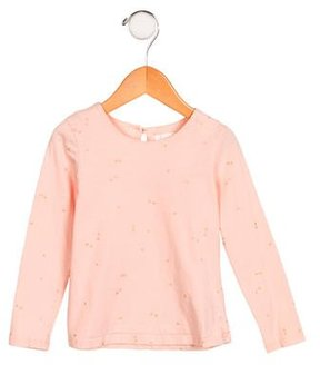 Chloé Girls' Metallic-Accented Long Sleeve Top